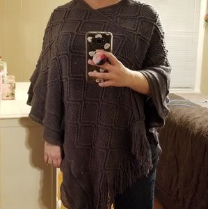 Sweaters - Dark Gray Poncho